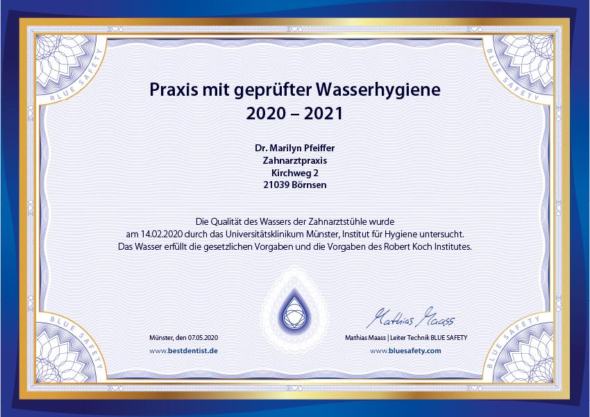 Zertifikat Wasser Blue Safety